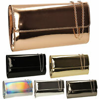 Women Metallic Leathr Shiny Rose Gold Ladies Evening Party Prom Smart Clutch Bag