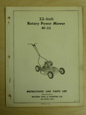 "Western Tool 22"" Rotary Mower Operating, Parts Manual Model Rf - 22"