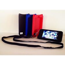 iPhone 4 4s Case GEL BLACK  with Adjustable Detachable Safety Lanyard
