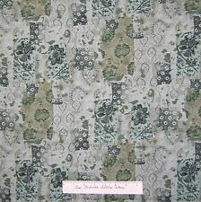 Calico Fabric - Palazzo Sage Green Leaf Patch - Kings Road Cotton 1.41Yd