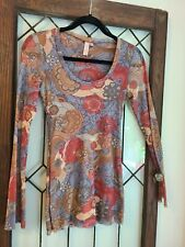 Sweet Pea by Stacy Frati Sz L Medium Long Sleeve Top Blouse Floral Mesh Stretch