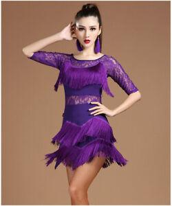 Latin Dance Dress Salsa Tango Ballroom Sequin Tassel Rumba Diamond Classic Women