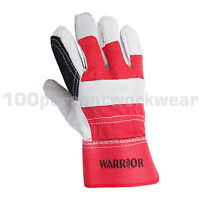 12 Pairs Warrior 01PK11RIGRP Reinforced Palm Cowhide Leather Rigger Work Gloves