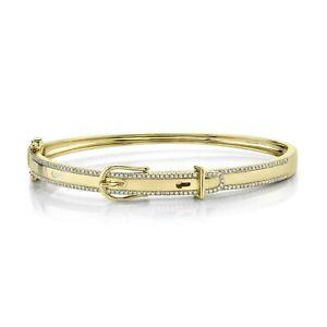 "Diamond Belt Buckle Bangle Bracelet 14k Yellow Gold Natural Round Cut Pave 6.5"""