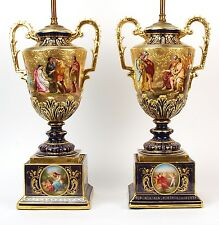 Antique Pair Royal Vienna Fine Hand Painted Porcelain Urns Mounted Lamps