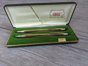 vintage 10KT gold filled CROSS pen & pencil USA made SET of 2