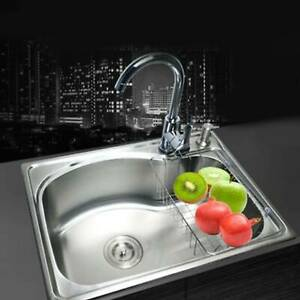 Modern Stainless Steel Kitchen Sink Single Bowl Laundry Catering Topmount Square