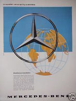 PUBLICITÉ DE PRESSE 1960 MERCEDES BENZ CONFIANCE MONDIALE - ADVERTISING