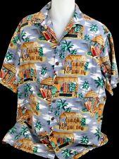 Hilo Hattie Mens Hawaiian Aloha Shirt Button Down Guitars Surboard Shirts Huts
