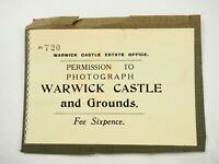 Permission To Photograph Warwick Castle & Grounds Office Badge Pass 1930