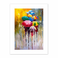 Umbrellas In The Rain Painting  Print Canvas Premium Wall Decor Poster