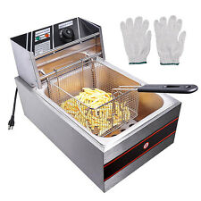 2500w 6l63qt Electric Deep Fryer Commercial Home Restaurant Stainless Steel Us