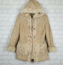 TOPSHOP BEIGE SUEDE FAUX SHEEPSKIN WINTER FUR COAT JACKET UK 10 EU 38