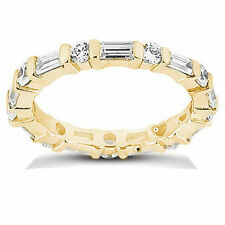 Eternity Band 14K Yellow Gold Ring 2 carat total Round & Baguette Diamond