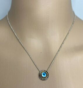"""SILVER 16"""" NECKLACE, 14K GOLD & 925 SS BLUE TOPAZ PENDANT & MATCHING EARRING SET"""