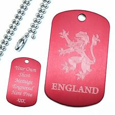 Personalised Engraved Rampant Lion England Dog Tag Pendant Football Fan Gift Son