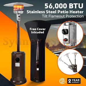56000 BTU Stainless Steel Patio Heater Outdoor Propane Gas Floor Stand Heating