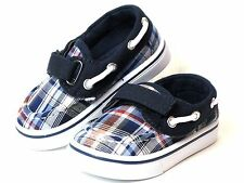 Baby Toddler Boy Blue Canvas Boat Shoes Loafer Size 4 Slip-on Style