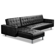 5 Seater Sofa Bed PU Leather Adjustable Futon Office Lounge Couch Suite Black