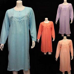 Nightdress Nightie Womens Cotton Blend Ladies Short Sleeve Button Floral Pattern