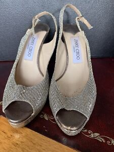 Jimmy Choo Womens Sandel Strap Shoe Size 36.5 Silver Gold Sparkle