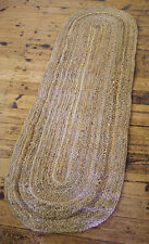 OVAL BRAIDED NATURAL JUTE MAT / RUG 55 x 180 cm TRADITIONAL SHABBY RUSTIC CHIC