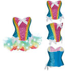 Burlesque Moulin Rouge Halloween Fancy Dress Rainbow Corset LED Light Tutu Skirt