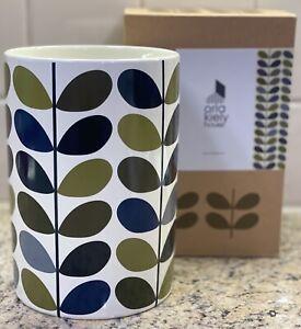 Orla Kiely Ink Multi Stem Khaki Marine Ceramic Utensil Pot / Canister