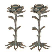 "2 Vintage Design Heavy Duty Blue Pewter Lotus Flower Metal Candle Holder 6"" NEW"