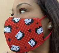 Betty Boop Face Mask Cotton Red Printed Adj Elastic Made In USA