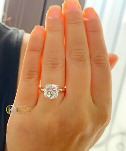 14K ROSE GOLD CUSHION FOREVER ONE MOISSANITE ENGAGEMENT RING SOLITAIRE 4.00CT