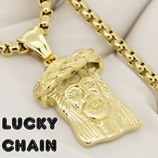 """STAINLESS STEEL GOLD JESUS FACE HEAD PENDANT 24""""ROUND BOX CHAIN 34g E674"""