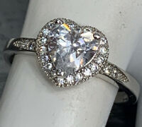 925 Sterling Silver Clear Heart Cubic Zirconia Crystal Ring Pretty Size 6