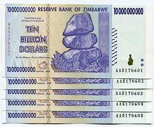 Zimbabwe 10 Billion AA Dollars 2008 UNC P85 AA x 5 Banknotes 100 Trillion Series