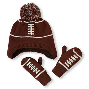 The Children's Place Football Pom Pom Hat And Mitten Set Size 12-24 Mos.