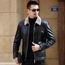 Mens  Sheep skin Leather Fur Lined Jacket Business Winter Warm Coat Parka Chic