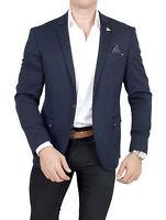 Herren Classic Sakko navy Regular Fit  Einknopf Jackett Jacke Freizeit Kontrast