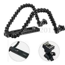 Dual-Arm 14cm Flexible Camera Flash Bracket Holder Mount For CANON NIKON MACRO
