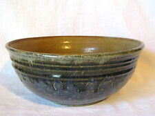 "Outstanding Studio Art Stoneware Pottery 10"" Glazed Bowl Oriental Artist Marking"