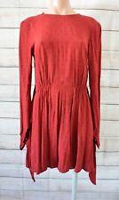 Bec & Bridge Fit Flare Dress Size 10 Maroon Brown Black Long Sleeve Backless
