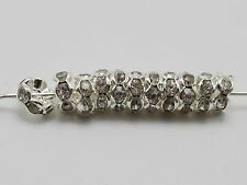 50 Silver Plated Flower Rhinestone Rondelle Spacers Beads 6mm Crystal Grade A
