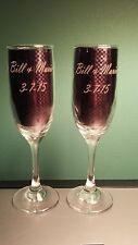 2 Personalized Wedding Glasses - Engraved Champagne Wine Toasting Flutes - Gift