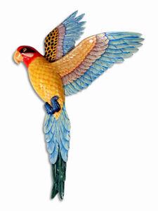 "Hand Painted 19"" Yellow Flying Parrot Bird Wall Mount Decor Sculpture 16P"