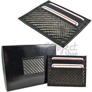 Real Carbon Fibre Genuine Leather Wallet Credit Card Holder Slip Sleeve Case