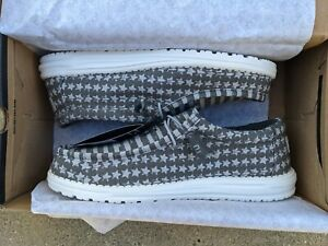 Hey Dude Wally Greyed Patriotic Shoes US Size 10 Mens Loafer Canvas Slip On New