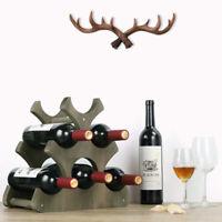 6 Bottles Wine Rack Rustic Wood Tabletop Wine Storage Stand Holder