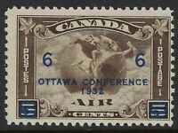 Scott C4: 6c on 5c Canada Airmail Mercury with Scroll in front of Globe, F-NH