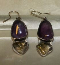 EARRINGS STERLING SILVER WITH NATURAL AMETHYST&CITRIN