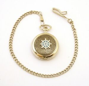 Ships Wheel Pocket Watch Gift Boxed FREE ENGRAVING Sailors Gift 326