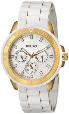 Bulova Women's 98N102 Quartz Chronograph Two-Tone White Silicone Band 40mm Watch